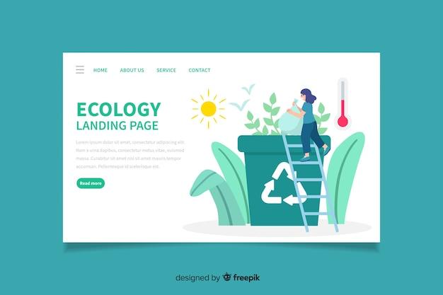 Płaska konstrukcja strony docelowej ekologii