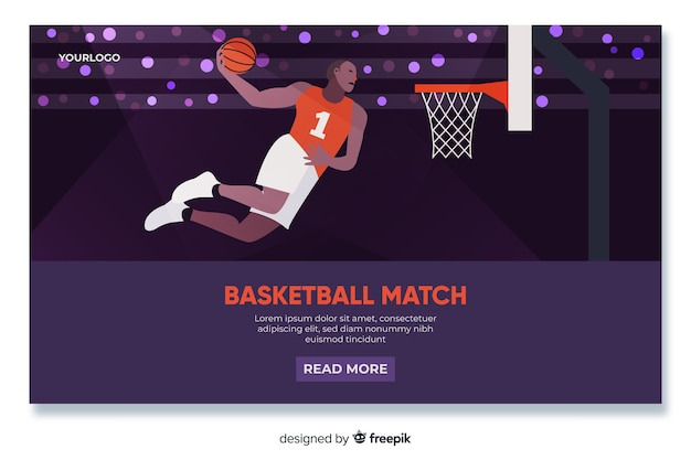 Płaska konstrukcja strony docelowej koszykówki