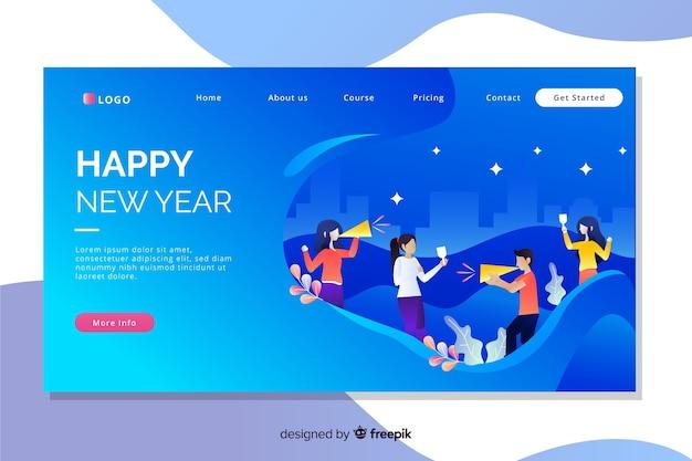 Płaska konstrukcja strony docelowej nowego roku