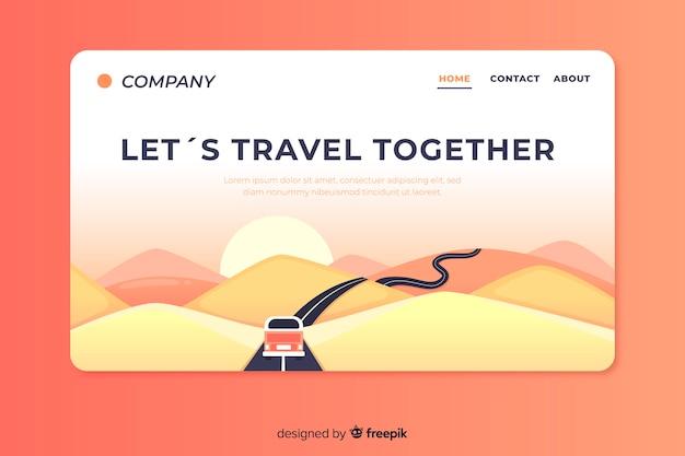 Płaska konstrukcja strony docelowej podróży