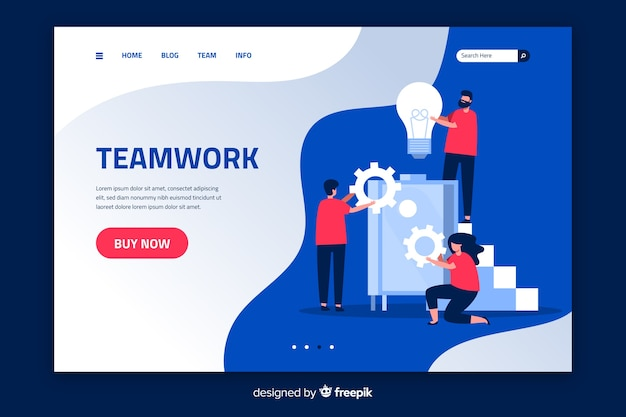 Płaska konstrukcja strony docelowej pracy zespołowej
