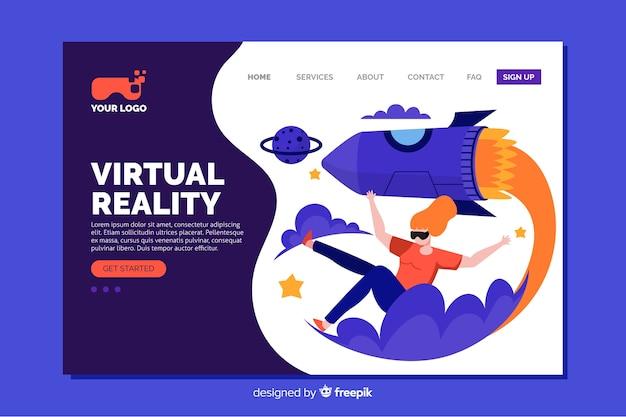 Płaska konstrukcja strony docelowej rzeczywistości wirtualnej