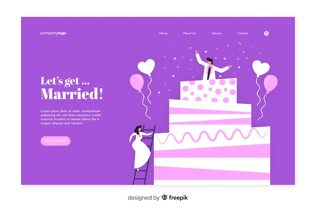 Płaska konstrukcja strony docelowej ślubu