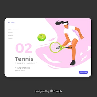 Płaska konstrukcja strony docelowej sport