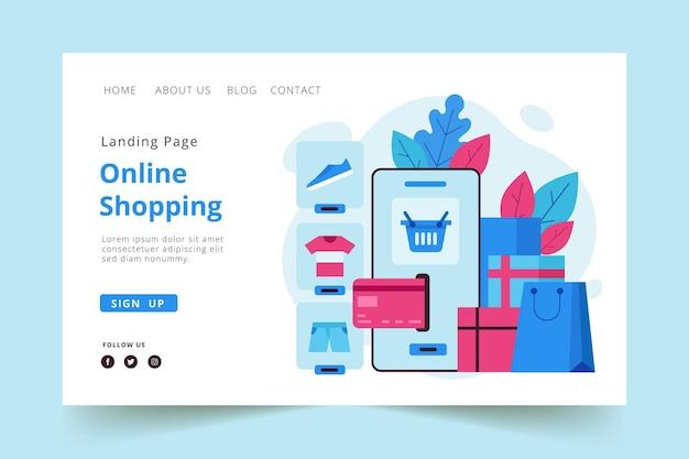 Płaska konstrukcja strony docelowej szablon zakupy online