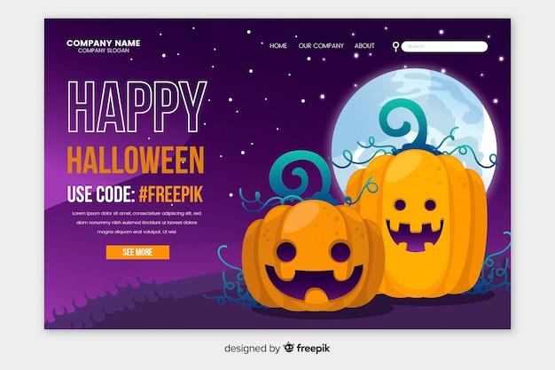 Płaska konstrukcja strony docelowej szczęśliwy halloween