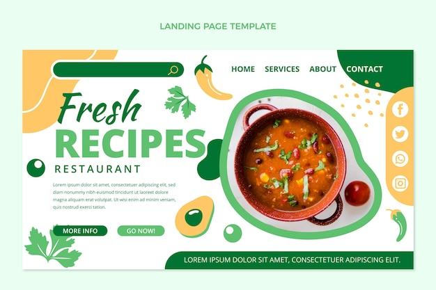 Płaska konstrukcja strony docelowej żywności