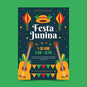 Płaska konstrukcja stylu festa junina plakat szablon