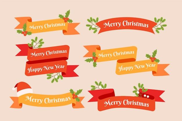 Płaska konstrukcja świąteczna kolekcja wstążki