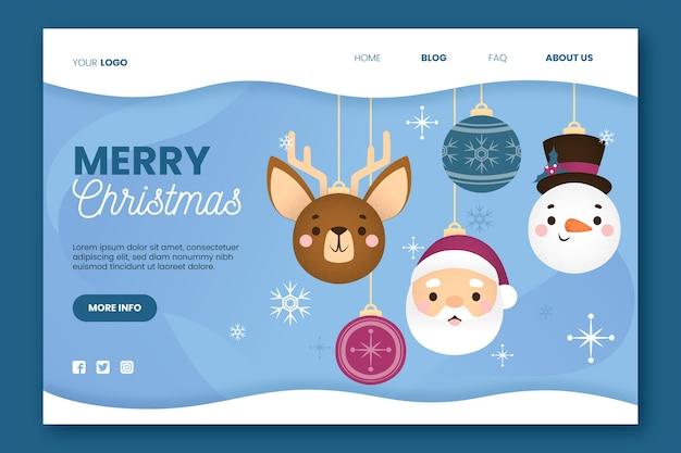 Płaska konstrukcja świąteczna strona docelowa z szablonu globusy