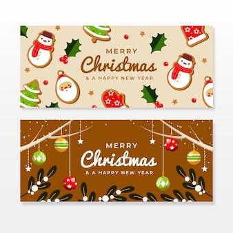 Płaska konstrukcja świąteczna wyprzedaż banery szablon