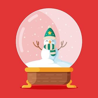 Płaska konstrukcja świątecznej kuli śnieżnej