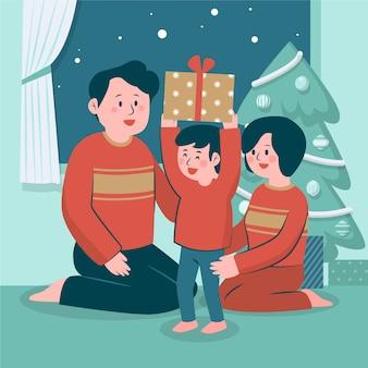 Płaska konstrukcja świątecznej sceny rodzinnej
