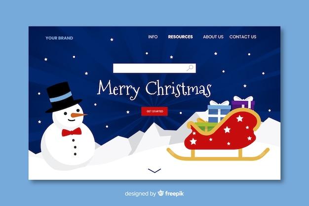 Płaska konstrukcja świątecznej strony docelowej