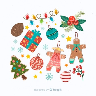 Płaska konstrukcja świątecznych dekoracji ilustracja