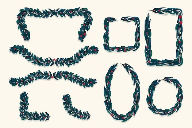 Płaska konstrukcja świątecznych ramek i granic