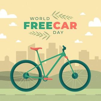 Płaska konstrukcja światowa koncepcja dzień bez samochodu