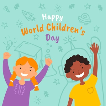 Płaska konstrukcja światowa koncepcja dzień dziecka
