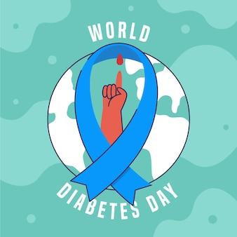 Płaska konstrukcja światowego dnia cukrzycy ilustracja z niebieską wstążką