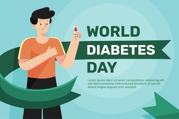 Płaska konstrukcja światowego dnia cukrzycy tło