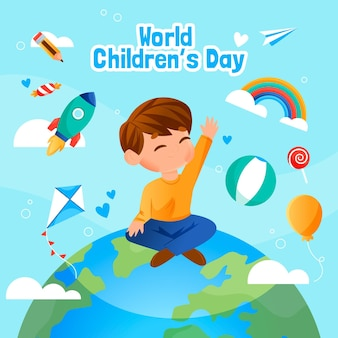 Płaska konstrukcja światowego dnia dziecka