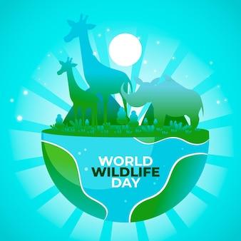 Płaska konstrukcja światowego dnia dzikiej przyrody