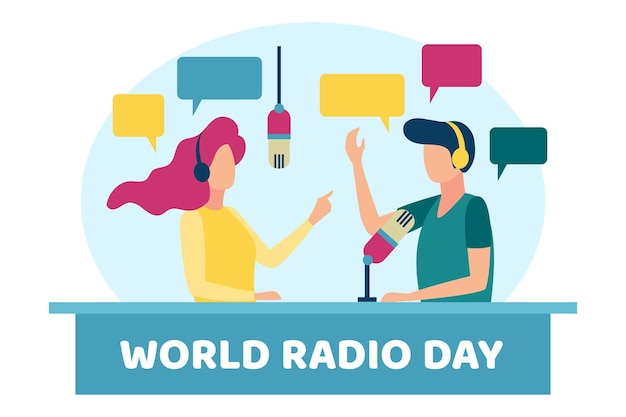 Płaska konstrukcja światowego dnia radia w tle z postaciami