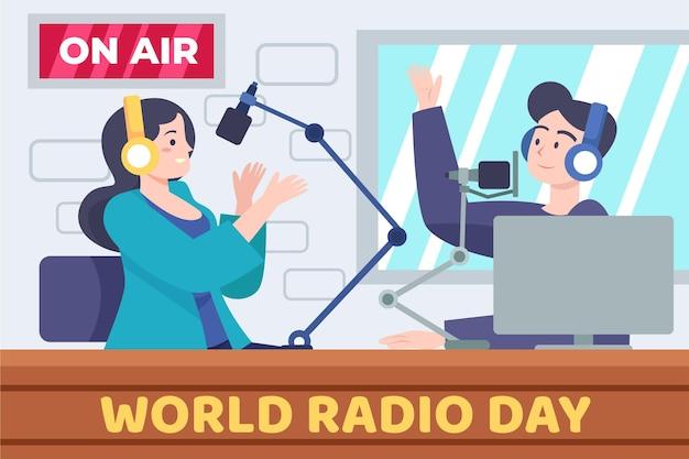 Płaska konstrukcja światowego dnia radia z postaciami