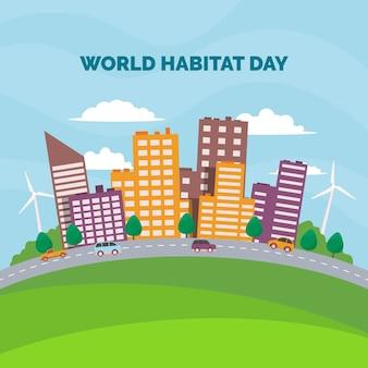 Płaska konstrukcja światowego dnia siedlisk