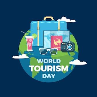 Płaska konstrukcja światowego dnia turystyki z kulą ziemską