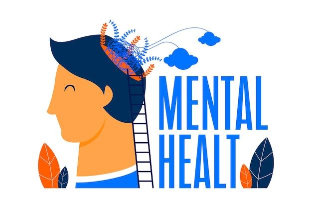 Płaska konstrukcja światowego dnia zdrowia psychicznego z człowiekiem