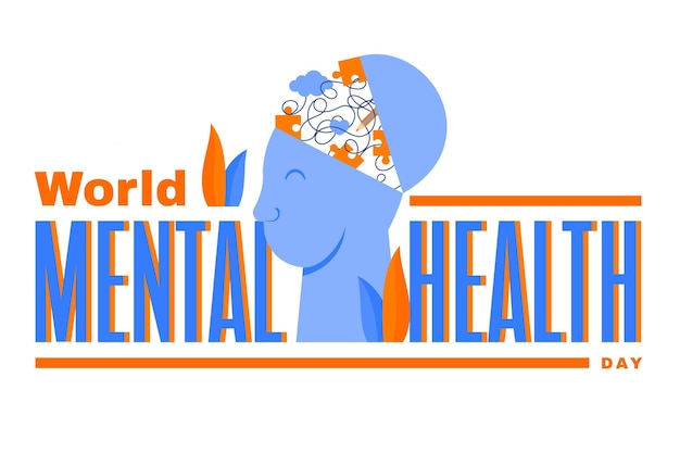 Płaska konstrukcja światowego dnia zdrowia psychicznego z głową i puzzle