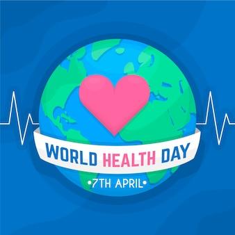 Płaska konstrukcja światowego dnia zdrowia