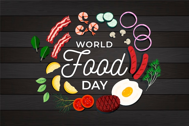 Płaska konstrukcja światowego dnia żywności ilustracja na podłoże drewniane