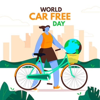 Płaska konstrukcja światowy dzień bez samochodu tło z kobietą