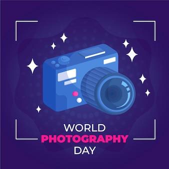 Płaska konstrukcja światowy dzień fotografii koncepcja