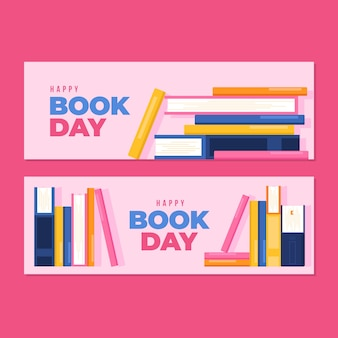 Płaska konstrukcja światowy dzień książki banery tematu