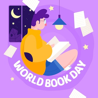 Płaska konstrukcja światowy dzień książki koncepcja