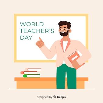 Płaska konstrukcja światowy dzień nauczycieli koncepcja
