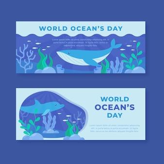 Płaska konstrukcja światowy dzień oceanów banery