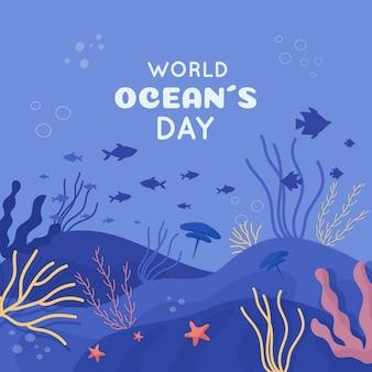 Płaska konstrukcja światowy dzień oceanów tło