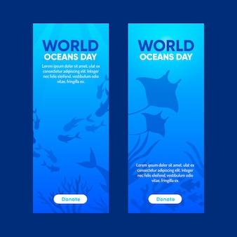 Płaska konstrukcja światowy dzień oceanów transparent