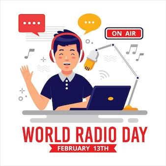 Płaska konstrukcja światowy dzień radia w tle z mężczyzną