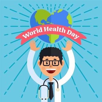Płaska konstrukcja światowy dzień zdrowia ilustracja