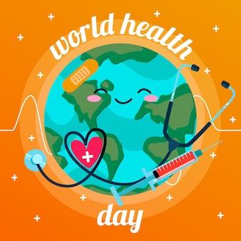 Płaska konstrukcja światowy dzień zdrowia tło