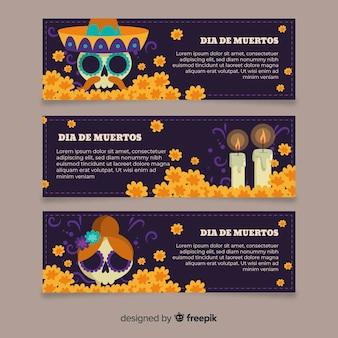 Płaska konstrukcja szablon banery día de muertos