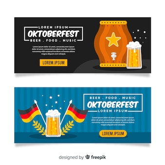 Płaska konstrukcja szablon banery oktoberfest