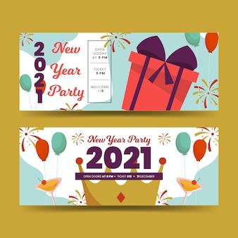 Płaska konstrukcja szablon banery partii nowy rok 2021