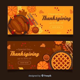 Płaska konstrukcja szablon banery święto dziękczynienia