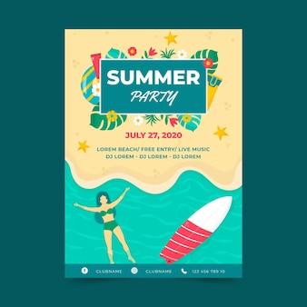 Płaska konstrukcja szablon lato party plakat